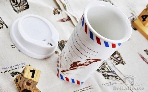 BellaHouse -我不是紙杯!手寫雙層方形陶瓷杯《信封Envelope》-廠商寄送